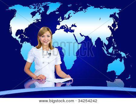 Anchorwoman At Tv Studio