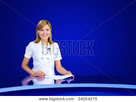 Anchorwoman At Empty Tv Studio