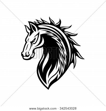 Horse Or Mustang Animal Isolated Icon, Tribal Tattoo And Equestrian Sport Mascot Design. Black And W