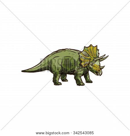 Triceratops Isolated Green Dinosaur With Horn. Vector Dino Sketch, T. Horridus With Epoccipital Frin