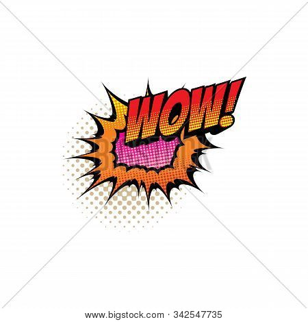 Comic Book Sound Blast, Wow Bubble Cartoon Halftone Icon. Vector Wow Sound Blast Explosion, Pop Art