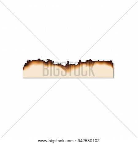 Burnt Scorched Piece Of Paper. Vector Parchment Sheet With Dirty Edges Left By Fire Or Flame