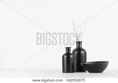Cozy White Home Decor With Elegant Black Aromatic Diffuser Bottles With Sticks, Bowl On Wood Board W