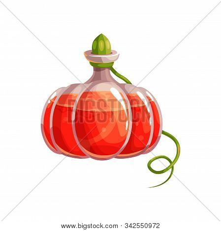 Pumpkin Shape Vial With Witch Potion Isolated Halloween Bottle. Vector Magic Gourd Or Squash Bottle