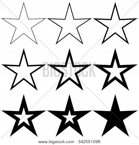 Set Pentagonal Stars With Different Stroke Thickness, Vector Logo Icon Thin And Thick Star, Symbol O