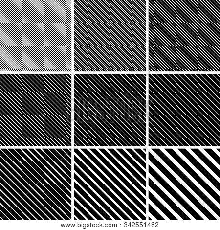 Set Diagonal Stripe Line Patterns Vector Diagonal Stripe Line Angle 45 Degree Background