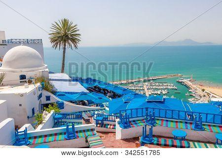 Sidi Bou Said, Tunisia - July 19, 2018: Beautiful View Over Seaside At White Blue Village Of Sidi Bo