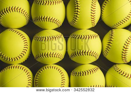 Fastpitch Softball Balls Close Up With Nobody.