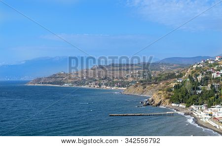 View Of Crimean Southern Coast Of Black Sea Near Malorechenskoe (malorichenske) Village