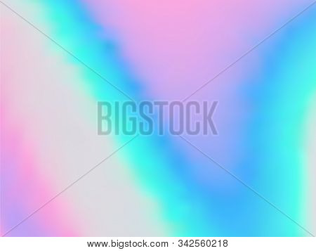Holographic Gradient Neon Vector Illustration. Glowing Iridescent Mermaid Background. Polar Lights L
