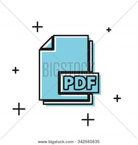 Black Pdf File Document. Download Pdf Button Icon Isolated On White Background. Pdf File Symbol. Vec