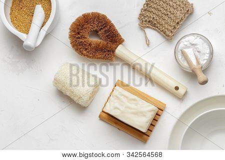 Set Of Zero Waste Products For Sustainable Dish Washing, Luffa Sponge, Vegan Dishwashing Solid Soap,
