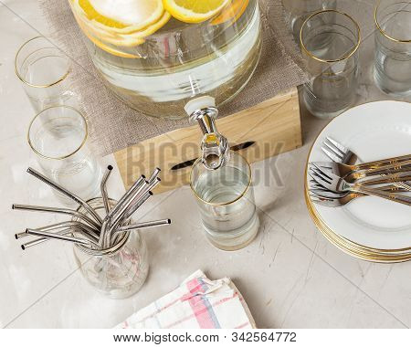Beverage Dispenser, Reusable Straws, Drinking Glass And Plates Prepared For Eco Friendly Zero Waste