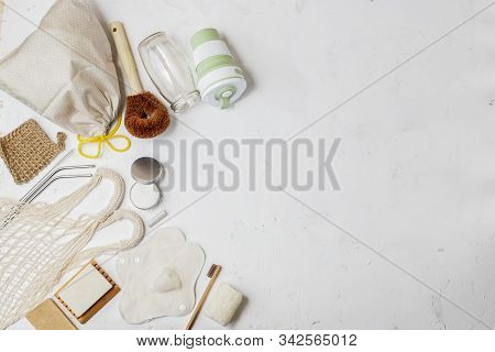 Set Of Zero Waste Houseware Products For Sustainable Living. Eco-friendly Lifestyle. Copy Space For