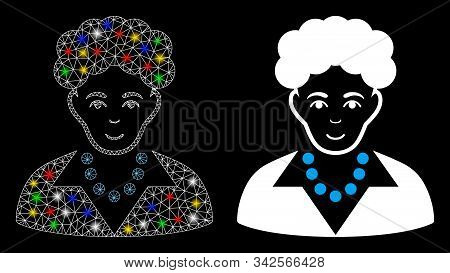 Glossy Mesh Brunette Woman Icon With Glitter Effect. Abstract Illuminated Model Of Brunette Woman. S
