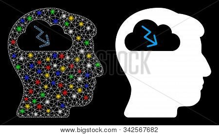 Glowing Mesh Brainstorming Icon With Glare Effect. Abstract Illuminated Model Of Brainstorming. Shin