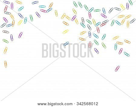 Office Bright Paper Clips Isolated On White Vector Background. Pink Red, Blue, Green, Orange Papercl