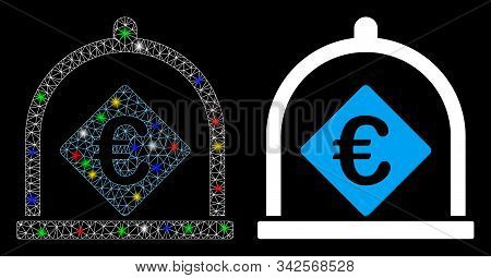 Glossy Mesh Euro Deposit Icon With Lightspot Effect. Abstract Illuminated Model Of Euro Deposit. Shi