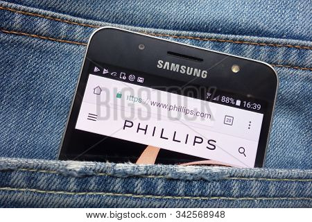 Konskie, Poland - May 17, 2018: Phillips Website Displayed On Samsung Smartphone Hidden In Jeans Poc