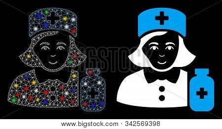 Bright Mesh Apothecary Lady Icon With Sparkle Effect. Abstract Illuminated Model Of Apothecary Lady.