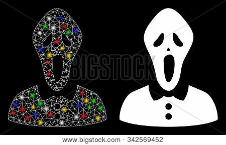 Bright Mesh Horror Woman Icon With Glare Effect. Abstract Illuminated Model Of Horror Woman. Shiny W