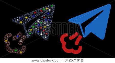 Glossy Mesh Paper Airplane Start Icon With Sparkle Effect. Abstract Illuminated Model Of Paper Airpl