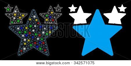 Glossy Mesh Stars Hit Parade Icon With Glitter Effect. Abstract Illuminated Model Of Stars Hit Parad