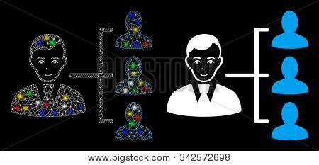 Glowing Mesh Distribution Manager Icon With Glare Effect. Abstract Illuminated Model Of Distribution