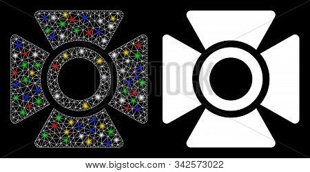 Glossy Mesh Searchlight Icon With Sparkle Effect. Abstract Illuminated Model Of Searchlight. Shiny W