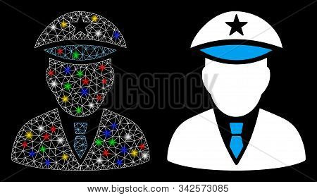 Flare Mesh Police Officer Icon With Glare Effect. Abstract Illuminated Model Of Police Officer. Shin