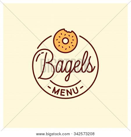 Bagel Menu Logo. Round Linear Of Bagel Bakery