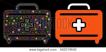 Glowing Mesh Medical Baggage Icon With Glow Effect. Abstract Illuminated Model Of Medical Baggage. S