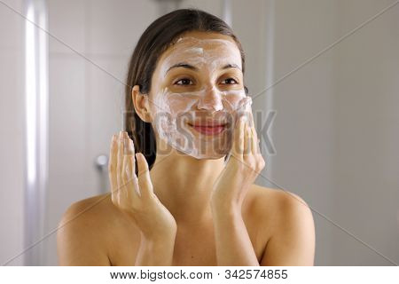 Skincare Woman Washing Face  Foaming Soap Scrubbing Skin. Face Wash Exfoliation Scrub Soap Woman Was
