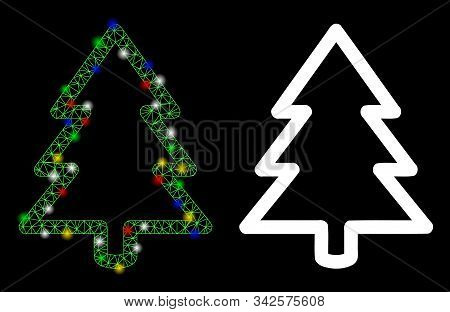 Glowing Mesh Fir-tree Icon With Glitter Effect. Abstract Illuminated Model Of Fir-tree. Shiny Wire F