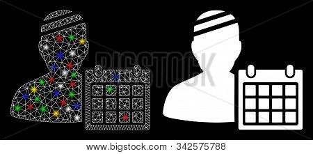 Glossy Mesh Patient Appointment Calendar Icon With Glare Effect. Abstract Illuminated Model Of Patie
