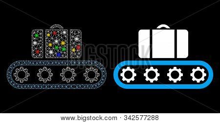 Glowing Mesh Baggage Conveyor Icon With Glow Effect. Abstract Illuminated Model Of Baggage Conveyor.
