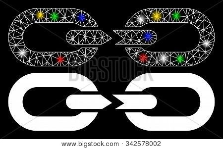 Glossy Mesh Chain Break Icon With Glare Effect. Abstract Illuminated Model Of Chain Break. Shiny Wir