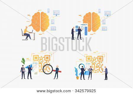 Efficiency Analysis Set. Businesspeople Analyzing Qr Codes, Brainwork, Thinking. Flat Vector Illustr
