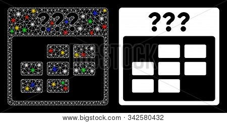 Bright Mesh Unknown Month Calendar Grid Icon With Glitter Effect. Abstract Illuminated Model Of Unkn