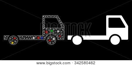 Glowing mesh truck chassis icon with lightspot effect. Abstract illuminated model of truck chassis. Shiny wire frame triangular network truck chassis icon. Vector abstraction on a black background. poster