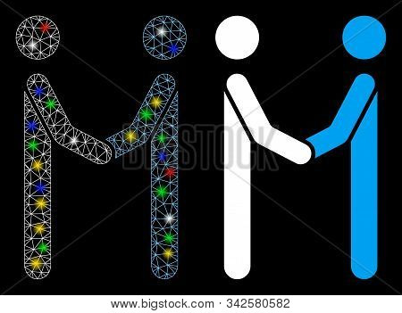 Glossy Mesh Agreement Icon With Glow Effect. Abstract Illuminated Model Of Agreement. Shiny Wire Car