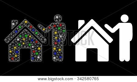 Glossy Mesh Realty Buyer Icon With Glare Effect. Abstract Illuminated Model Of Realty Buyer. Shiny W