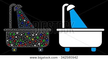 Glossy Mesh Bath Icon With Sparkle Effect. Abstract Illuminated Model Of Bath. Shiny Wire Frame Tria