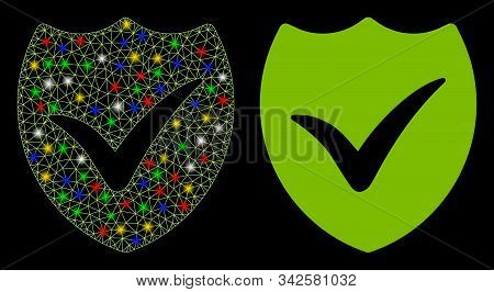 Glowing Mesh Valid Shield Icon With Sparkle Effect. Abstract Illuminated Model Of Valid Shield. Shin