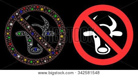 Glowing Mesh Forbidden Cattle Icon With Sparkle Effect. Abstract Illuminated Model Of Forbidden Catt