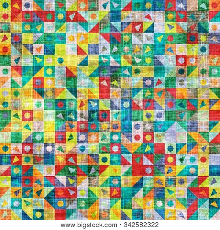 Childlike grungy funky rainbow shape tile swatch poster