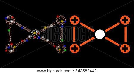 Flare Mesh Medical Nodes Icon With Glow Effect. Abstract Illuminated Model Of Medical Nodes. Shiny W