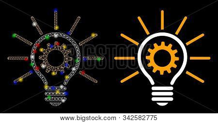 Glowing Mesh Innovation Bulb Icon With Sparkle Effect. Abstract Illuminated Model Of Innovation Bulb