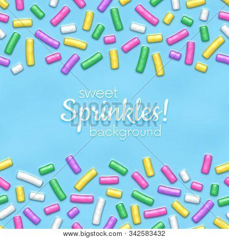 Seamless Pattern Of Blue Donut Glaze With Many Decorative Sprinkles