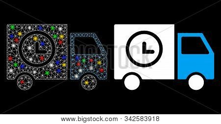 Glowing Mesh Shipment Schedule Van Icon With Sparkle Effect. Abstract Illuminated Model Of Shipment